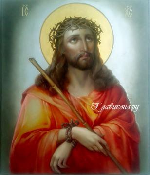 Господь в терновом венце, рукописная икона маслом артикул 630