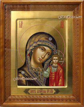 Вариант оформления иконы Казанской Божией Матери (артикул 201) в деревянном киоте