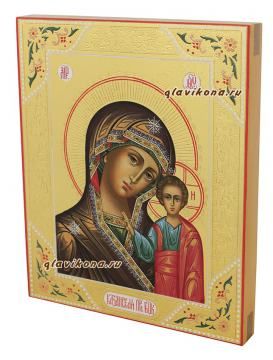 Казанская Пресвятая Богородица, рукописная икона с резьбой по лескасу и золочением, артикул 241 - вид сбоку