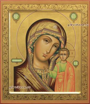 Образ Божией Матери Казанская икона палех на липовой доске, артикул 5302