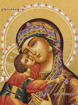 Рукописная икона Владимирской Божией Матери, оформление - золочение, чеканка, артикул 256 - лик Образа