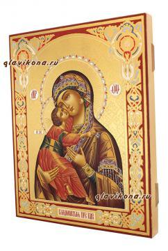 Рукописная икона Владимирской Божией Матери, оформление - золочение, чеканка, артикул 256 - вид сбоку