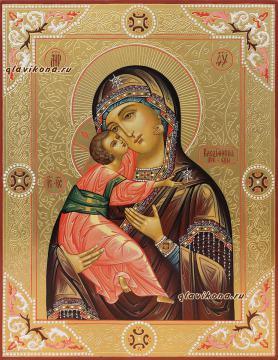Владимирская Божия Матерь, икона писаная с чеканкой и золочением, артикул 209