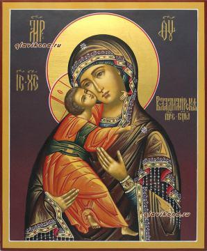 Написанная на доске икона Владимирской Божией Матери (темный фон), артикул 210