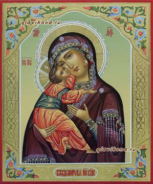 Владимирская Богородица, писаная икона с резьбой на полях и узорами, артикул 239