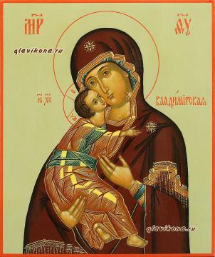 Писаная икона Владимирской на оливковом фоне, артикул 286