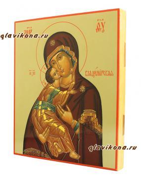 Писаная икона Владимирской на оливковом фоне, артикул 286 - вид сбоку
