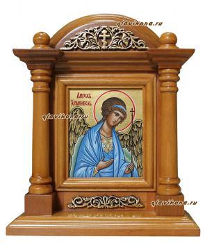 Писаная икона Ангела Хранителя в деревянном киоте-подставке, артикул 702