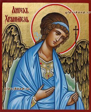 Писаная икона Ангела Хранителя в киоте, артикул 702 - вид самой иконы