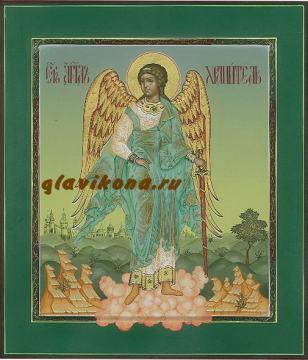Икона Ангела Хранителя (ростового), написанная в палехском стиле, артикул 703