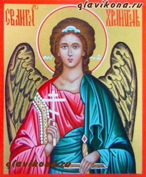 Образ Ангела Хранителя, икона написаная на доске с золочением, артикул 704