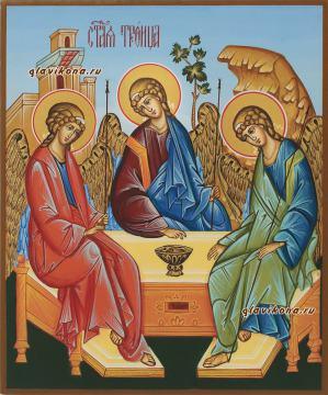 Писаная икона Троицы с голубым фоном, артикул 903