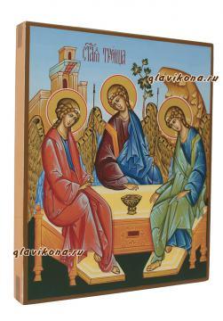 Писаная икона Троицы с голубым фоном, артикул 903 - вид боку