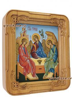 Писаная икона Троицы с голубым фоном, артикул 903 - вариант оформления в киот