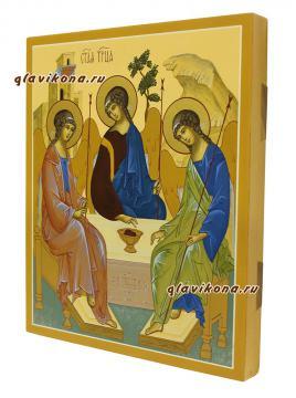 Писаная икона Троица, копия иконы Андрея Рублева - вид сбоку