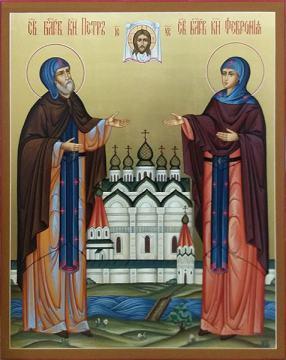 Святые Петр и Феврония в монашеских одеждах - фотография при другом освещении