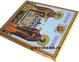 Муромские святые Петр и Феврония, писаная икона на деревянной доске, артикул 809 - вид сбоку