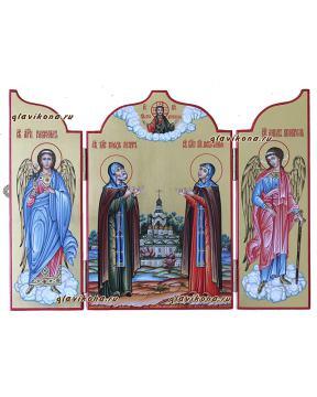 Святые Петр и Феврония, писаная икона складень со створками