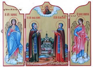 Святые Петр и Феврония, писаная икона складень со створками - детальный вид