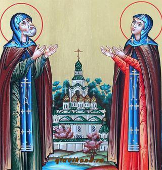Святые Петр и Феврония, писаная икона складень со створками - лики Святых