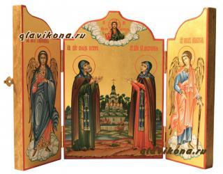 Святые Петр и Феврония, писаная икона складень со створками - в раскрытом виде