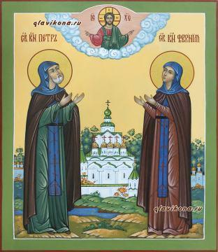 Благоверные князь и княгиня Петр и Феврония, писаная икона с пейзажем, артикул 052