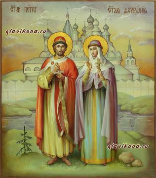 Святые Петр и Феврония, писанная маслом икона с красивым пейзажем