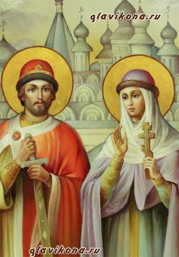 Святые Петр и Феврония, писанная маслом икона - лики Образов