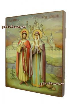 Святые Петр и Феврония, писанная маслом икона - вид сбоку