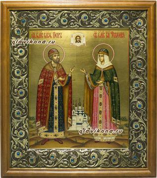 Икона Петра и Февронии в киоте, артикул 813