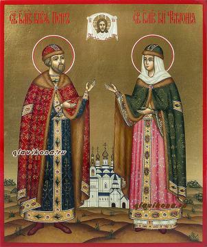 Икона Петра и Февронии в киоте, артикул 813 - вид иконы