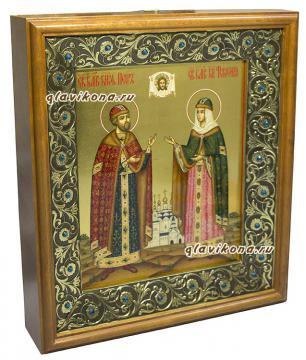 Икона Петра и Февронии в киоте, артикул 813 - вид сбоку