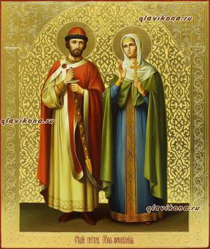 Образ святых Петра и Февронии, писанная икона маслом, с чеканкой
