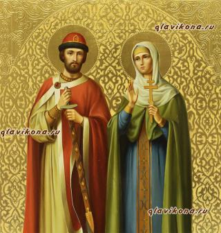 Петр и Феврония, писанная икона маслом, с чеканкой, артикул 815 - лики Святых