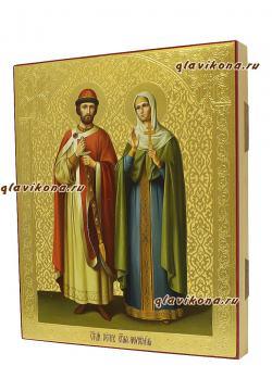 Петр и Феврония, писанная икона маслом, с чеканкой, артикул 815 - вид сбоку