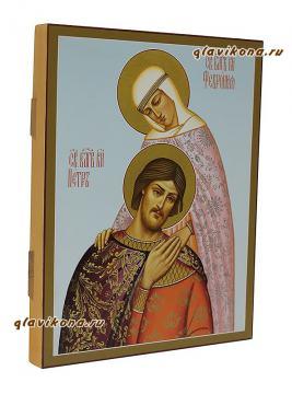 Икона святых Петра и Февронии (склонившиеся), артикул 821 - вид сбоку