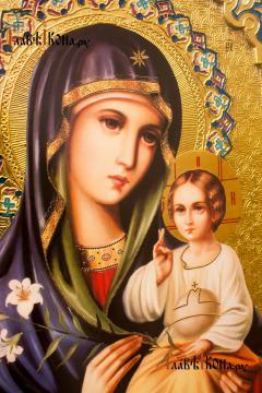 Образ Божией Матери Неувядаемый Цвет, большая храмовая икона 60х80 см - лик Образа