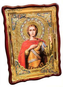 Великомученик Георгий Победоносец, храмовая икона 60х80 см - вид сбоку