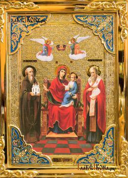"""Божия Матерь """"Экономисса"""", большая храмовая икона, размер 60х80 см - детали"""