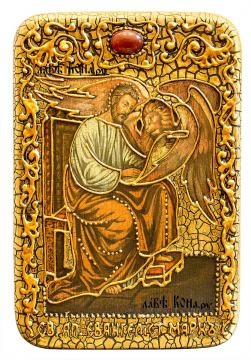 Святой апотол Марк, подарочная икона под старину на дубовой доске