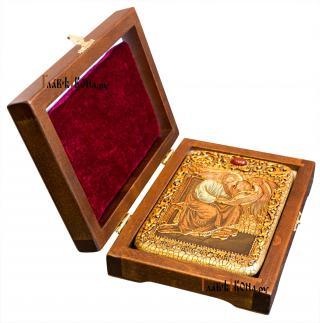 Святой апотол Марк, подарочная икона под старину на дубовой доске - вид с футляром