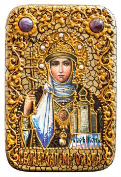 Равноапостольная Ольга, икона на дубовой доске в подарочном футляре
