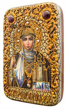 Равноапостольная Ольга, икона на дубовой доске в подарочном футляре - вид сбоку