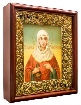 Иоанна Мироносица, рукописная икона маслом - вариант оформления иконы в киот