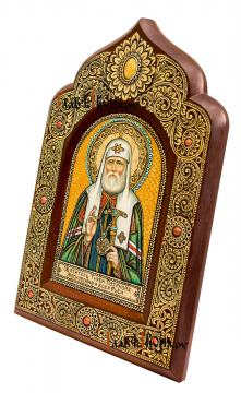 Тихон Белавин, патриарх Московский, писаная икона из бересты - вид сбоку