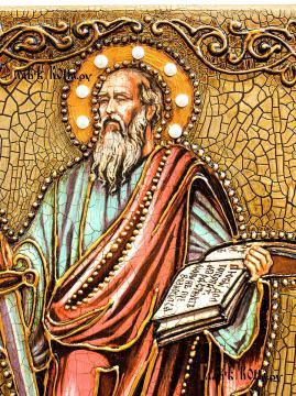 Апостол Павел (с мечом), икона подарочная на дубовой доске - лик святого