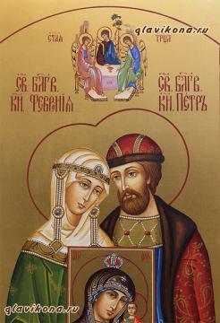 Писаная икона Петра и Февронии (поясные) с предстоящими, артикул 822 - лики Святых