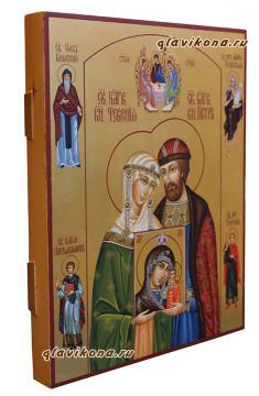 Писаная икона Петра и Февронии (поясные) с предстоящими, артикул 822 - вид сбоку
