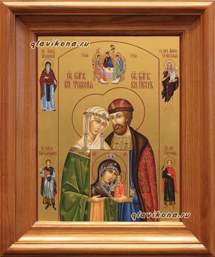 Писаная икона Петра и Февронии (поясные), артикул 822 - вариант оформления в дубовом киоте