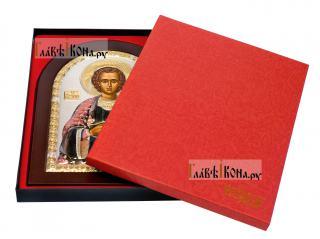 Икона святого Пантелеимона в ризе, артикул mae1120c - вид в упаковке